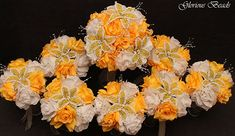 Amazon.com: YELLOW BEADED Flower Lily Wedding / Quincenarea Bouquet 16 PC Set with FREE Boutonnieres: Handmade