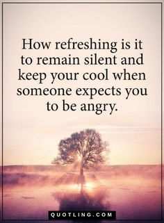 Quotes how refreshing is it to remain silent and keep your cool when someone expects you to be angry.