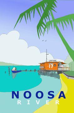 Noosa River, Australia, Retro Travel Poster Art Vintage Look
