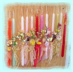 Easter candles given to the children from their Godparents
