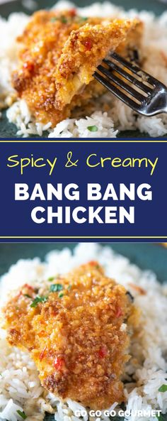 Are you obsessed with the Bang Bang Shrimp from Bonefish Grill? This easy Bang Bang Chicken recipe has all the copycat spicy, creamy flavor of their most popular sauce, but with a change in protein! It's great served over rice or even pasta. #easycopycatrecipes #bangbangshrimp #bangbangchicken #gogogogourmet