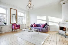 #interior design #living room #purple #pink #chandelier #floors