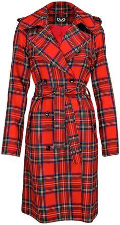 Wish list...Dolce & Gabbana plaid trench coat.  Women's designer fashion