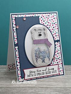 I have a new favorite kit from Queen & Company . The All Bundled Up kit. It is a winter themed shaker kit. The paper pad is. Bear Card, Happy New Year Cards, Scrapbook Cards, Scrapbooking, Scrapbook Layouts, Shaker Cards, Christmas Paper, Winter Cards, Card Sketches