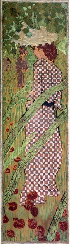 1892-98, Pierre Bonnard: Woman in a Checked Dress. Japonism. Four-panel-Panneaux. Oil, canvas. Private Collection.