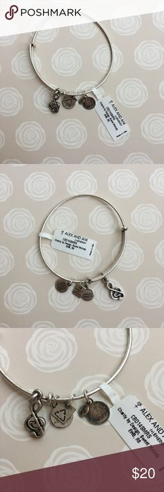 Alex & Ani | Music Note Bangle New with tags, never worn. This is the Alex & Ani silver music note charm bangle. One of the small charms has some tarnishing (pictured). Ships same or next day ✨ bundle for a discount! Alex & Ani Jewelry Bracelets