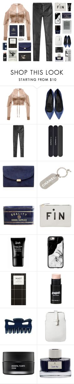 """ My sweetheart, he´s a rambler. "" by centurythe ❤ liked on Polyvore featuring Theyskens' Theory, The Kooples, Passport, MAC Cosmetics, Mansur Gavriel, Chanel, FOSSIL, Casetify, Butter London and Mossimo"