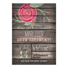 Pink Flower, Rustic Country 60th Birthday Party Card
