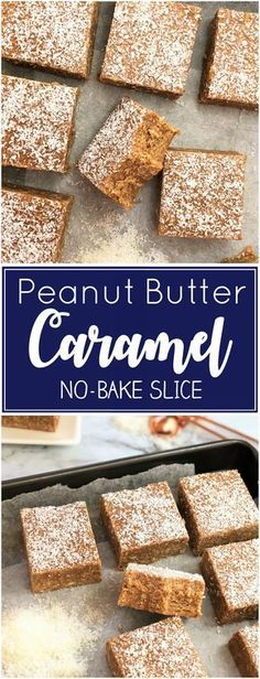 Peanut Butter Caramel Slice recipe - no bake caramel slice, easy melt & mix bars with a combination of caramel & peanut butter. These dense chewy caramello slice bars would be great for a lunchbox or. No Bake Desserts, Delicious Desserts, Dessert Recipes, Yummy Food, Raw Desserts, Chocolate Desserts, Appetizer Recipes, Caramello Slice, No Bake Slices