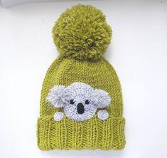 e542ce5bad4 Koala Hat Knit Hat Winter Hat Pom Pom Hat Kids Outfit