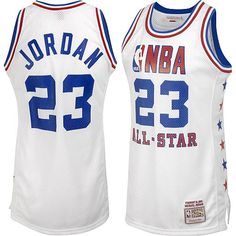 Mitchell And Ness Chicago Bulls Michael Jordan White Home Authentic 1985  All star NBA Jersey  Mens  d712bd83a