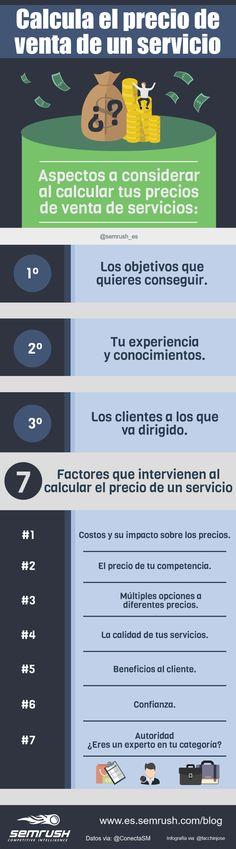 Cómo calcular el precio de venta de un servicio #marketing #productividad #infografia #infographic