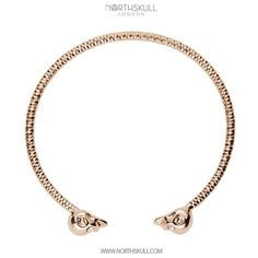 Our Rose Gold Faceted Twin Skull Bangle is handcrafted with meticulous attention to detail. Featuring an open design with a precision cut clear swarovski crystal set in each eye, the 18kt. Rose Gold finish makes this a sleek & stylish addition to your wrist | Available now at Northskull.com [Worldwide Shipping] #Luxury