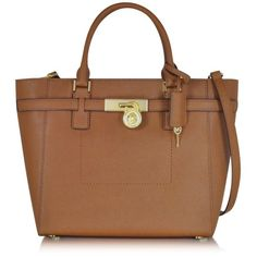 Michael Kors Hamilton Large Top-zip Tote ($298) ❤ liked on Polyvore featuring bags, handbags, tote bags, brown, saffiano leather handbag, michael kors, brown purse, brown handbags and zip top tote