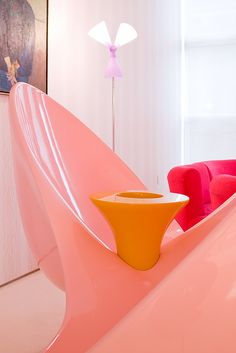 Apartment Design, Chelsea Loft Designed By Karim Rashid: Awesome Patterns and Colors Collide in Vivid New York Loft Karim Rashid, Colorful Interior Design, Colorful Interiors, Funky Furniture, Furniture Design, New Yorker Loft, Colorful Apartment, Neon Room, Loft Interiors
