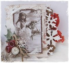 Tag#12-Christmascard with these lovely vintage papers by Pion Design-Wintertime in Swedish Lapland ♥