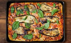 Sicilian dough rises to form a slightly sweet, focaccia-like crust. We top it off with fresh mozzarella, seared eggplant and sliced red onion