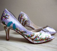 Blue Wedding Shoes Tiffany blue shoes painted birds by norakaren