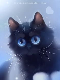 I see fish chips by Apofiss on DeviantArt by lois Anime Animals, Cute Animals, Chesire Cat, Black Cat Art, Kitten Care, Warrior Cats, Cat Drawing, Animal Paintings, Beautiful Cats