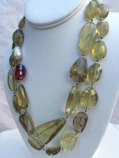Lemon Quartz Necklace, hand knotted, faceted lemon quartz, brushed sterling silver bead, 1 faceted red quartz with sterling adjustable clasp Smoky Quartz Necklace, Quartz Crystal Necklace, Quartz Jewelry, Beaded Jewelry, Jewelry Necklaces, Blue Necklace, Ethnic Jewelry, Lemon Quartz, Silver Beads