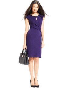 Nine West Cap-Sleeve Crisscross-Waist Sheath - Dresses - Women - Macy's