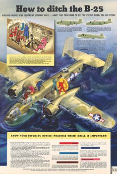 ditch your Mitchell! Ww2 Aircraft, Military Aircraft, General Motors, Vintage Advertisements, Vintage Ads, Aviation Theme, Aviation Art, Military Drawings, Ww2 Planes
