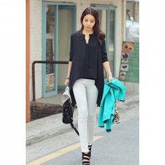 $8.00 Casual Scoop Neck Long Sleeves Solid Color Shorter Front Buttons Chiffon Blouse For Women