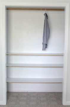 Learn how to build closet shelves for any closet in your home. These DIY closet shelves are inexpensive and easy to customize for any size closet. Building Shelves In Closet, Diy Closet Shelves, Closet Storage Bins, Diy Clothes Storage, Closet Built Ins, Build A Closet, Kid Closet, Built In Shelves, Closet Bedroom