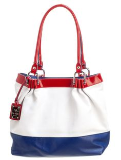 "Fresh, practical and spacious, this luxury hand bag will become a favorite.  red patent leather detail and double 10"" handles, white and blue soft textured leather bag.   This handbag is beautifully hand crafted of high quality calfskin. Made by BluStyle, a tiny artisan leather bag company in central Italy."