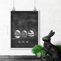 Painted Easter Eggs Black & White Chalkboard Print by MollyHeyer