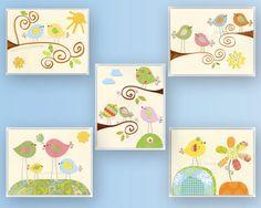 Nursery wall Art, Kids Room decor, play room, baby love bird nursery, set of 5 8x10, baby blue, lime green, yellow, pink. $78.00, via Etsy.
