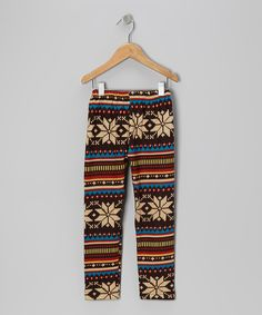Brown & Blue Winter Leggings - Infant, Toddler & Girls on zulily today!