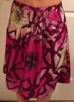 Calvin Klein Pomegranate Floral Pleated Skirt Purple