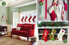 Not everyone has a mantle. And even if you do, it doesn't mean that you're required to hang your Christmas stockings on it. Here are ten super creative alternative places to hang your stockings. Hang your stockings from a branch and then mount the Christmas Is Coming, Winter Christmas, Christmas Home, Christmas Stuff, Merry Christmas, Xmas, Christmas Crafts For Kids, Christmas Decorations, Holiday Decor