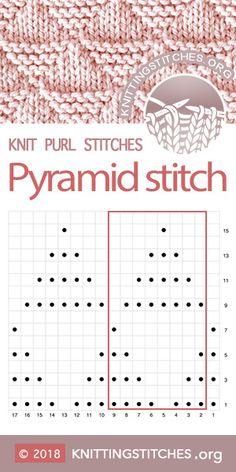 Most up-to-date Free knitting stitches chart Tips KnittingStitches — Pyramid stitch Chart Knitting Charts, Easy Knitting, Loom Knitting, Knitting Needles, Baby Knitting Patterns, Stitch Patterns, Crochet Patterns, Knitting Machine, Lace Patterns
