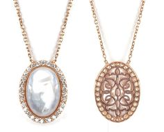 Lucky Eyes 18ct Rose gold vermeil on sterling silver Oval mother of pearl and crystals necklace. Look at the hand crafted back of the pendant!!    Length:16'' with 1.5'' chain extension     Comes in a beautiful Lucky Eyes Jewellery box