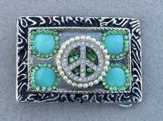 Bling belt buckle, Women, teens, peace sign, Vintage pearl and rhinestone, Free shipping