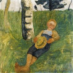 The Athenaeum - Young Man Lying in Grass next to a Birch Tree (Paula Modersohn-Becker - )