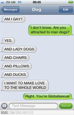 a funny texts from dog, gay