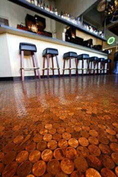pennies on display