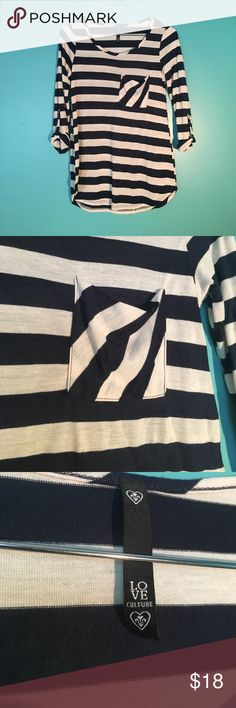 Navy Striped Cuff-Sleeved Shirt - Like New Polished & professional striped shirt with front pocket. Sleeves can be rolled and buttoned or worn down as long sleeves. Great condition, very gently used. Love Culture Tops Blouses