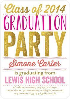 Glimmering Grad - #Graduation Invitations - Ann Kelle in a bright Coral  Pink