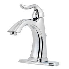 Pfister Santiago Polished Chrome 1-Handle Single Hole/4-in Centerset WaterSense Bathroom Faucet (Drain Included)