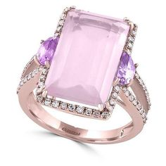 Effy 14K , Rose Quartz, Pink Amethyst and Diamond Ring, 0.32 TCW ($1,138) ❤ liked on Polyvore featuring jewelry, rings, rose gold, pink amethyst ring, emerald cut ring, fine jewelry diamond rings, fine jewelry and diamond jewelry