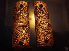 "1911 COLT 45 ""GOLDEN DRAGON""  PISTOL GRIPS NOW WITH FREE SHIPPING!"