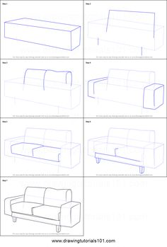 How to Draw a Couch printable step by step drawing sheet : DrawingTutorials101.com