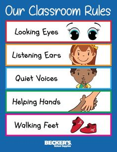 Preschool Classroom Rules – Becker's School Supplies We've put together these tips for introducing rules in your preschool classroom plus a handy printable classroom rules poster. Preschool Classroom Rules, Classroom Rules Poster, Classroom Board, Classroom Behavior, Preschool Lessons, Classroom Activities, Preschool Learning, In Kindergarten, Printable Classroom Posters