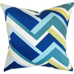 Cotton pillow with an abstract motif and down fill. Made in the USA.   Product: PillowConstruction Material: Cotton co...