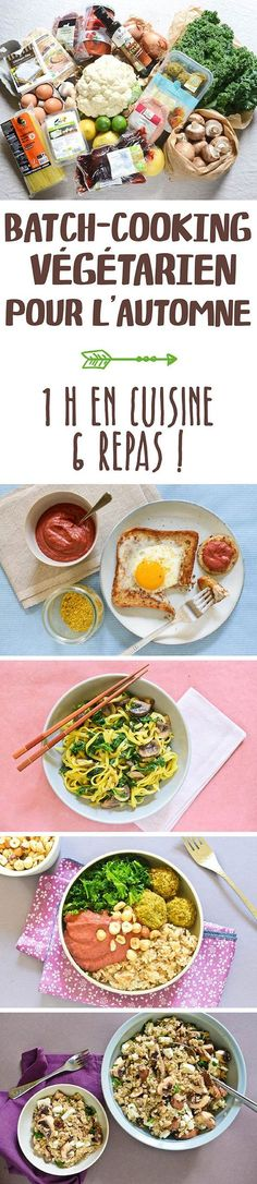 Vegetarian batch cooking for fall: 1 hour in the kitchen, 6 meals! High Protein Vegetarian Recipes, Vegetarian Cooking, Vegan Recipes, Cooking Recipes, Easy Recipes, Brunch Recipes, Appetizer Recipes, Dinner Recipes, Batch Cooking