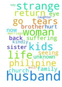 Dear brother and sister in christ, - Dear brother and sister in christ,  �Kindly say a prayer to save my marriage from unknown strange woman from Philipines who use evil works to win over my husband, now he left me and kids without a single� word to me .thats not his nature at all ,he is such a wonderful man . We used to be very close bonding family with happiness and laughter surround us. Now all vanish just like that , kids longing for his return with love and tears in their eyes. Its hurt…
